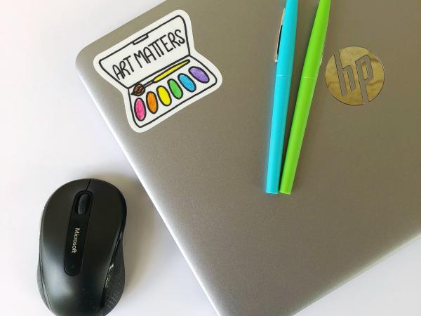 Art Matters vinyl sticker on computer