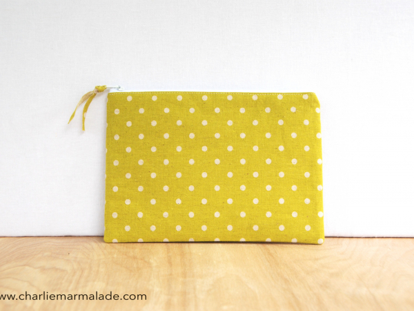 Essentials Pouch {Lime Polka Dot}