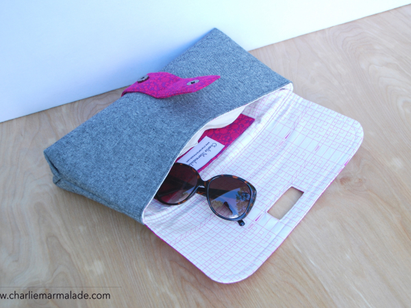 Charlie Clutch {Magenta Field} interior